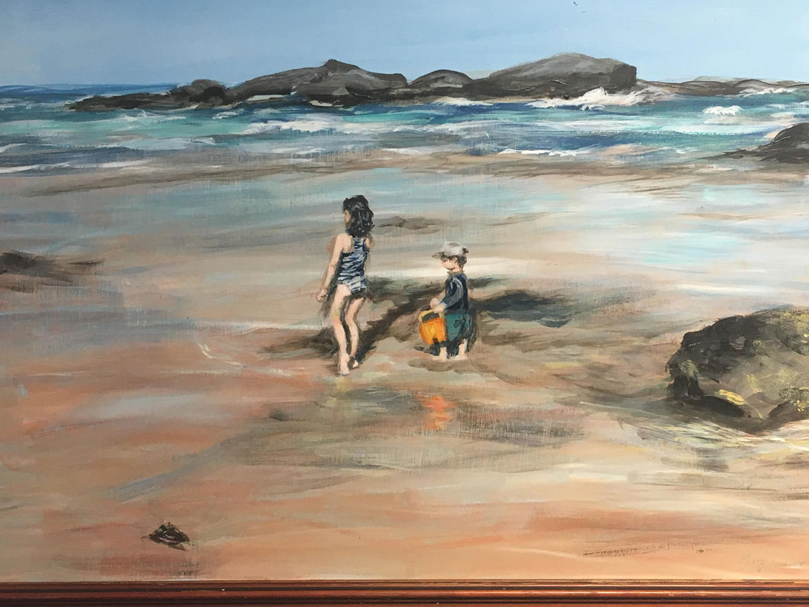 Holiday Memories - Fun at Beach - Marg Correy - Acrylic